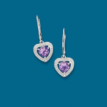1.10 ct. t.w. Amethyst Heart Drop Earrings with Diamond Accents in Sterling Silver , , default