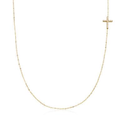 Italian .12 ct. t.w. CZ Sideways Cross Station Necklace in 14kt Yellow Gold, , default