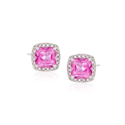 2.50 ct. t.w. Pink Topaz and .15 ct. t.w. Diamond Stud Earrings in 14kt White Gold, , default