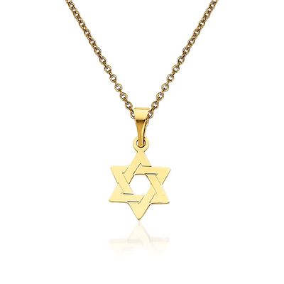 14kt Yellow Gold Star of David Pendant Necklace, , default