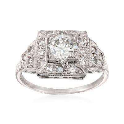 C. 2000 Vintage 1.40 ct. t.w. Certified Diamond Engagement Ring in Platinum, , default