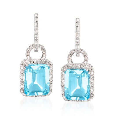 7.75 ct. t.w. Blue Topaz and .21 ct. t.w. Diamond Earrings in Sterling Silver, , default