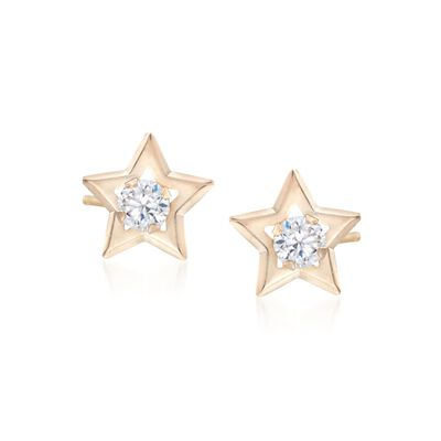 .20 ct. t.w. CZ Star Stud Earrings in 14kt Yellow Gold, , default