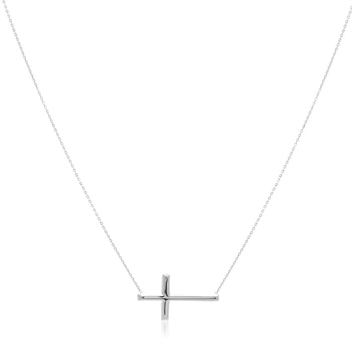14kt White Gold East-West Sideways Cross Necklace