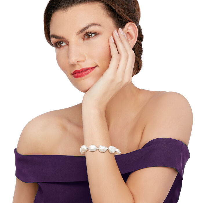 11-12mm Cultured Baroque Pearl and Sterling Silver Jewelry Set: Earrings, Bracelet and Necklace
