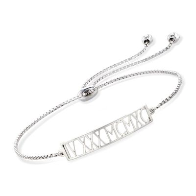 Sterling Silver Roman Numeral Date Bolo Bracelet , , default
