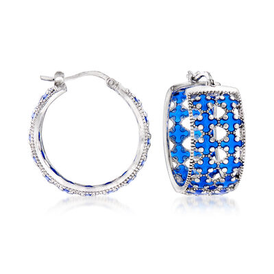 Italian Blue Enamel Hoop Earrings in Sterling Silver, , default