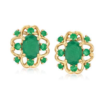 3.10 ct. t.w. Emerald Earrings in 14kt Yellow Gold