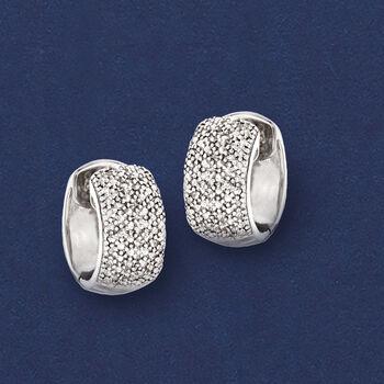 """Diamond Accent Huggie Hoop Earrings in Sterling Silver. 3/8"""""""