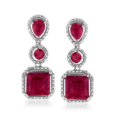 10.70 ct. t.w. Ruby Drop Earrings in Sterling Silver, , default
