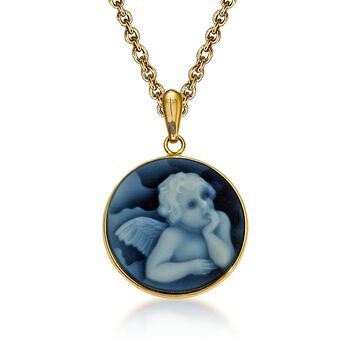 "Blue Agate Cherub Cameo Pendant Necklace in 14kt Yellow Gold. 18"", , default"
