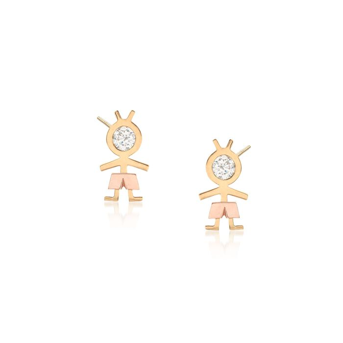 .20 ct. t.w. CZ Boy Stud Earrings in 18kt Two-Tone Gold