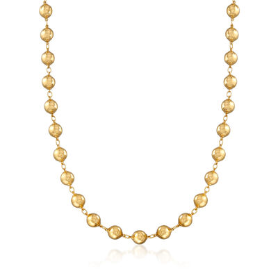 C. 1970 Vintage 18kt Yellow Gold Bead Necklace , , default