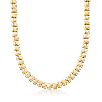 Gold-Plated Metal Small Bar Necklace, , default
