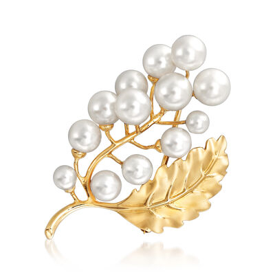 4-7mm Cultured Pearl Leaf Pin in 14kt Yellow Gold, , default