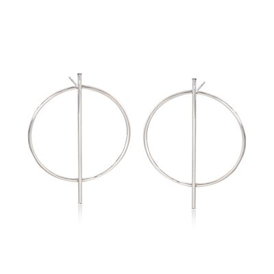 Italian Sterling Silver Circle and Bar Drop Earrings, , default