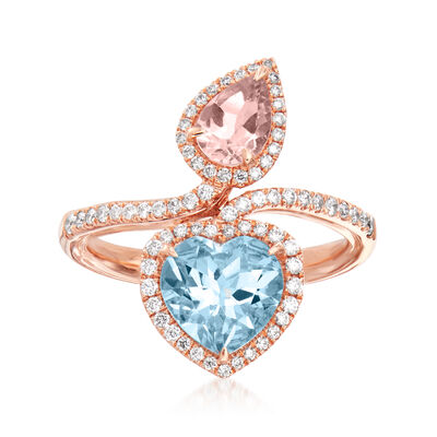1.50 Carat Aquamarine and .60 Carat Morganite Bypass Ring with .36 ct. t.w. Diamonds in 14kt Rose Gold