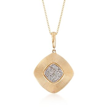 ".13 ct. t.w. Diamond Wavy Square Pendant Necklace in 14kt Yellow Gold. 16"", , default"