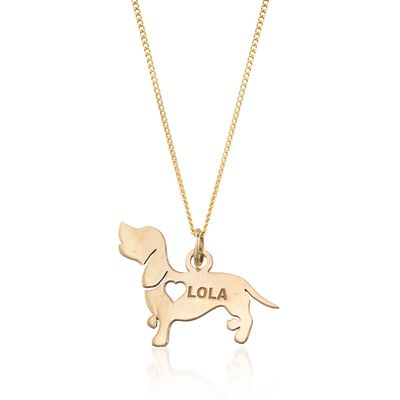 18kt Yellow Gold Over Sterling Silver Dachshund Name Pendant Necklace, , default
