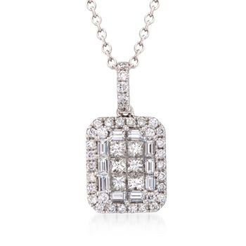 "Gregg Ruth 1.15 ct. t.w. Diamond Pendant Necklace in 18kt White Gold. 18"", , default"
