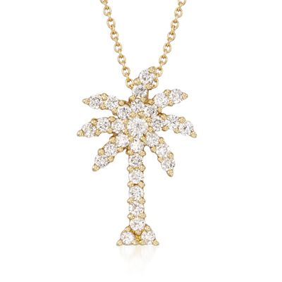 "Roberto Coin ""Tiny Treasures"" .54 ct. t.w. Diamond Palm Tree Pendant Necklace in 18kt Yellow Gold, , default"