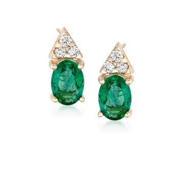 """1.60 ct. t.w. Emerald and .18 ct. t.w. Diamond Earrings in 14kt Yellow Gold. 3/8"""", , default"""