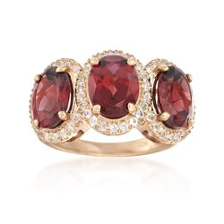 6.25 ct. t.w. Garnet and .50 ct. t.w. White Topaz Ring in 14kt Gold Over Sterling, , default