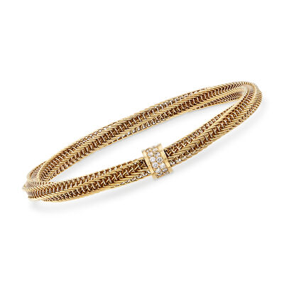 "Roberto Coin ""Primavera"" .19 ct. t.w. Diamond Twisted Bracelet in 18kt Yellow Gold"