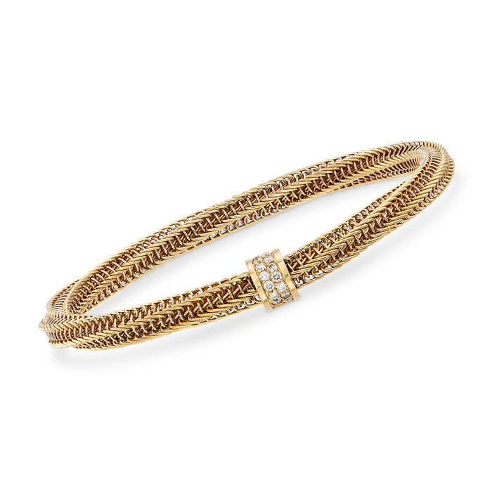 "Roberto Coin ""Primavera"" .19 ct. t.w. Diamond Twisted Bracelet in 18kt Yellow Gold. 7"", , default"