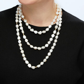 """9.5-10.5mm Cultured Baroque Pearl Long Necklace in 14kt Yellow Gold with Necklace Shortener. 64"""", , default"""