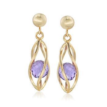 2.00 ct. t.w. Amethyst Cage Drop Earrings in 14kt Yellow Gold, , default
