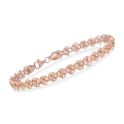 14kt Rose Gold Rosette-Link Bracelet, , default