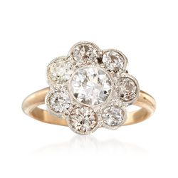 C. 1950 Vintage 1.98 ct. t.w. Certified Diamond Ring in 14kt Yellow Gold. Size 7, , default