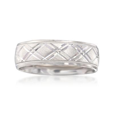 Men's 7mm 14kt White Gold Diamond-Cut Wedding Ring, , default