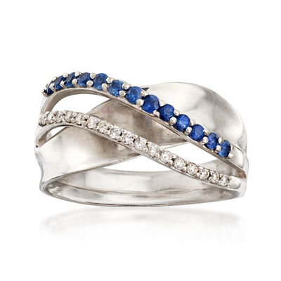 C. 1990 Vintage .30 ct. t.w. Sapphire and .17 ct. t.w. Diamond Ring in 14kt White Gold, , default