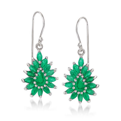 3.00 ct. t.w. Emerald Cluster Drop Earrings in Sterling Silver, , default