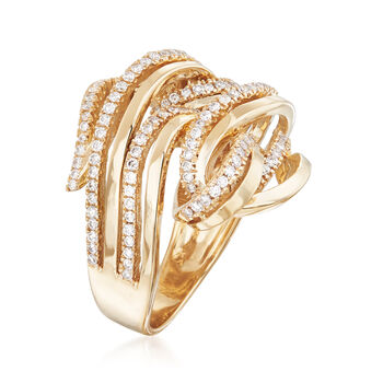 1.00 ct. t.w. Diamond Multi-Row Swirl Ring in 14kt Yellow Gold, , default