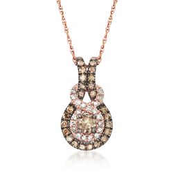".45 ct. t.w. Brown and White Diamond Pendant Necklace in 14kt Rose Gold. 18"", , default"