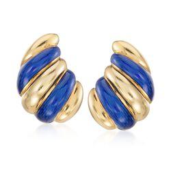 C. 1960 Vintage Blue Enamel Spiral Drop Clip-On Earrings in 18kt Yellow Gold, , default