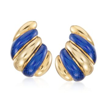 C. 1960 Vintage Blue Enamel Spiral Drop Clip-On Earrings in 18kt Yellow Gold , , default