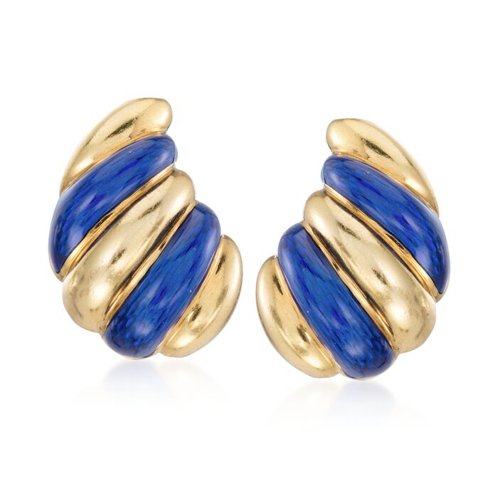 C. 1960 Vintage Blue Enamel Spiral Drop Clip-On Earrings in 18kt Yellow Gold , , default