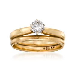 C. 1980 Vintage .35 Carat Diamond Bridal Set: Engagement and Wedding Rings in 10kt and 14kt Yellow Gold, , default