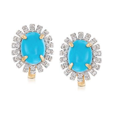 Turquoise and .34 ct. t.w. Diamond Earrings in 14kt Yellow Gold, , default