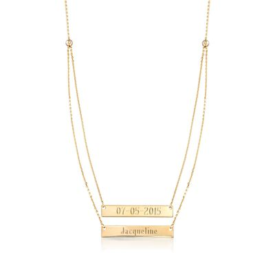 14kt Yellow Gold Layered Double Name Bar Necklace