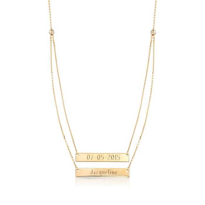 14kt Yellow Gold Layered Double Name Bar Necklace, , default