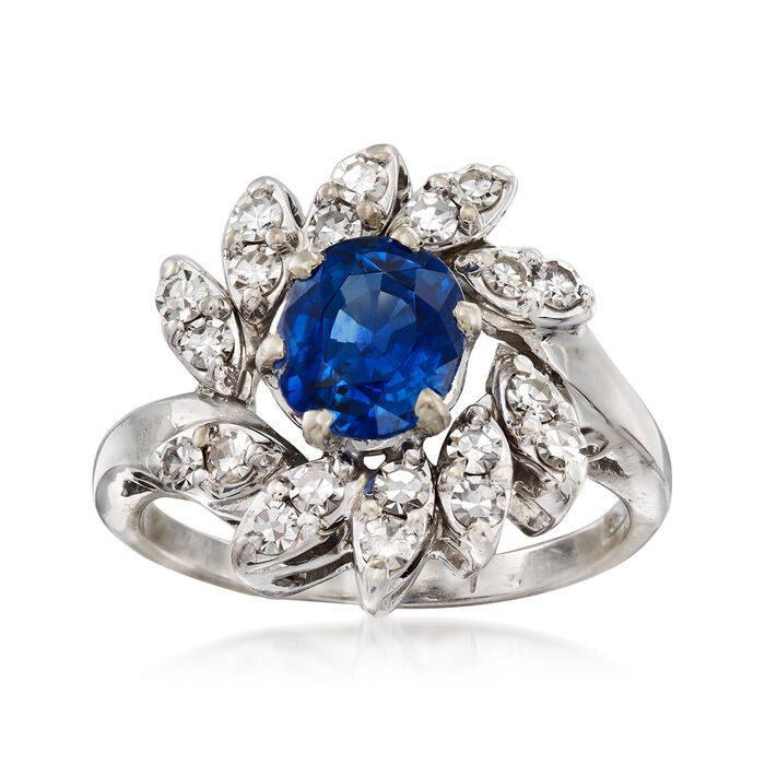 C. 1970 Vintage 1.50 Carat Sapphire and .75 ct. t.w. Diamond Ring in 14kt White Gold