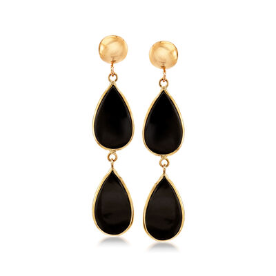 Black Onyx Double-Teardrop Earrings in 14kt Yellow Gold