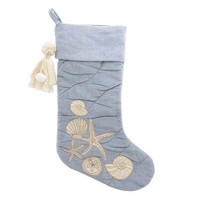Cream and Blue Velvet Seashell Holiday Stocking