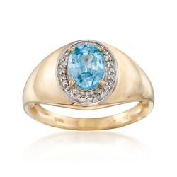 2.10 Carat Blue Zircon and .12 ct. t.w. Diamond Ring in 14kt Yellow Gold, , default