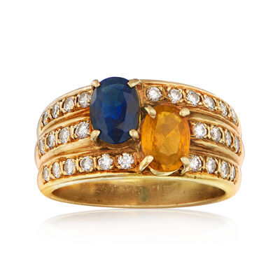 C. 1980 Vintage 1.50 ct. t.w. Blue and Yellow Sapphire and .55 ct. t.w. Diamond Ring in 18kt Yellow Gold